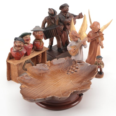Bavarian Hand Carved Wood Bar Tool Figurines, Other European Wooden Souvenirs
