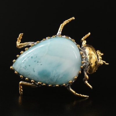 Sterling Larimar Insect Brooch