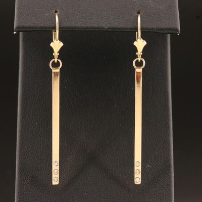 Minimalist Style 14K Diamond Bar Earrings