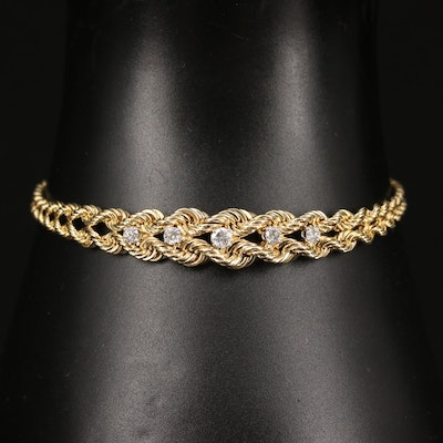 14K Diamond Double Rope Chain Bracelet