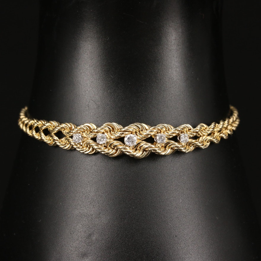 14K Diamond Double Rope Chain Bracelet