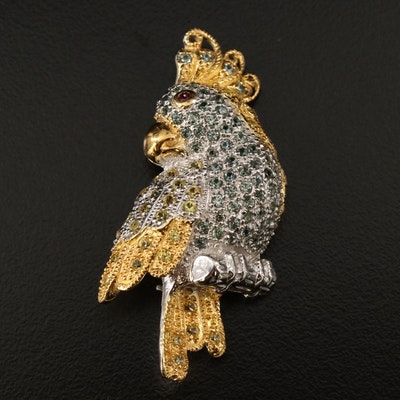 Sterling Parrot Motif Brooch Including Sapphire and Garnet