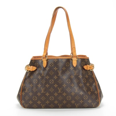 Louis Vuitton Batignolles Shoulder Bag in Monogram Canvas and Vachetta Leather