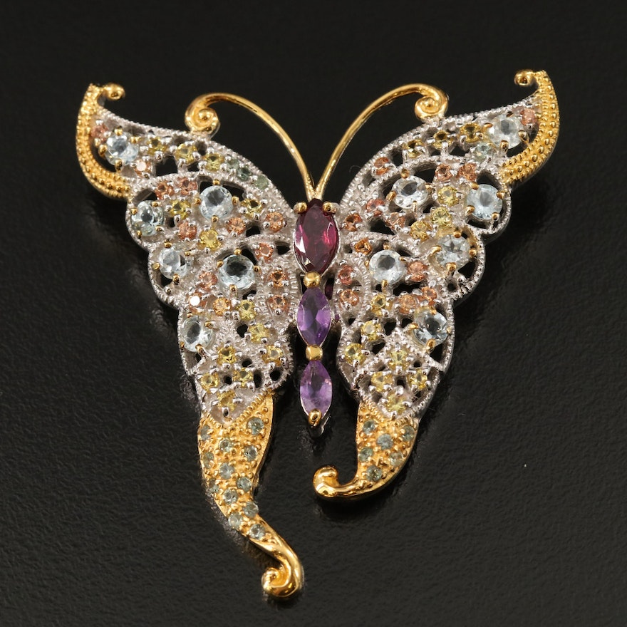 Sterling Butterfly Brooch Including Garnet, Amethyst and Aquamarine