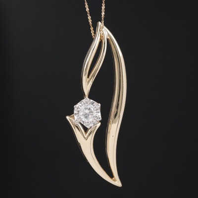 14K 0.26 CT Diamond Solitaire Foliate Pendant Necklace