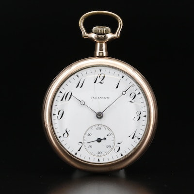 1916 Illinois Gold Filled Open Face Pocket Watch