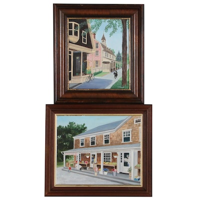"A. Stanwell Oil Paintings ""3 East Hampton Star"" and Street Scene"