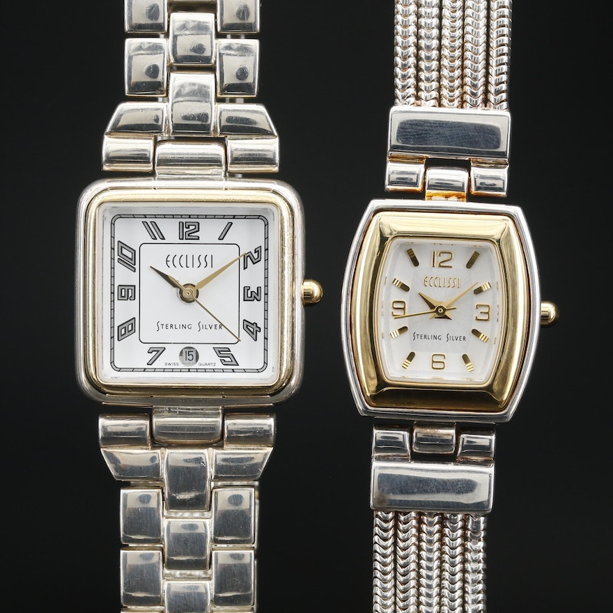 Pair of Ecclissi Two Tone Sterling Silver and Stainless Steel  Wristwatches