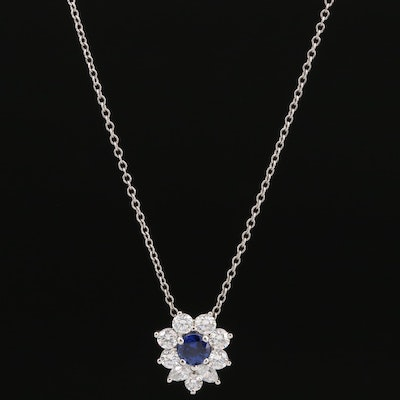 Tiffany & Co. Platinum Sapphire and Diamond Pendant Necklace