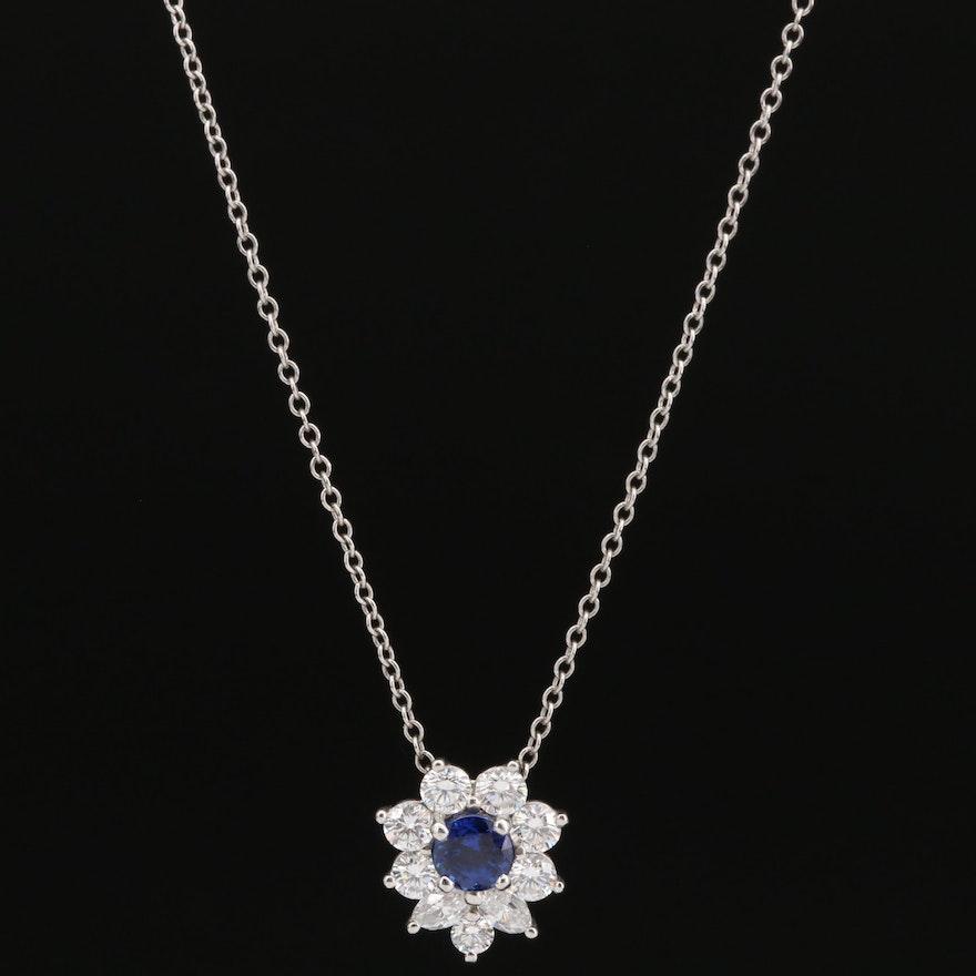Tiffany & Co. Platinum Sapphire and Diamond Pendant Necklace