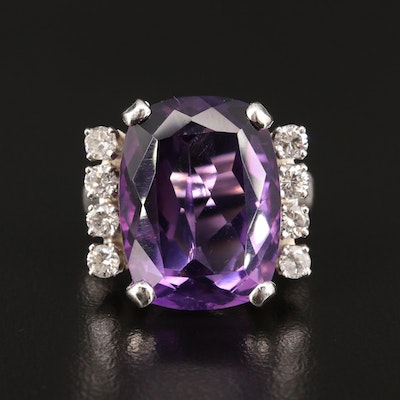 14K 15.12 CT Amethyst and Diamond Ring