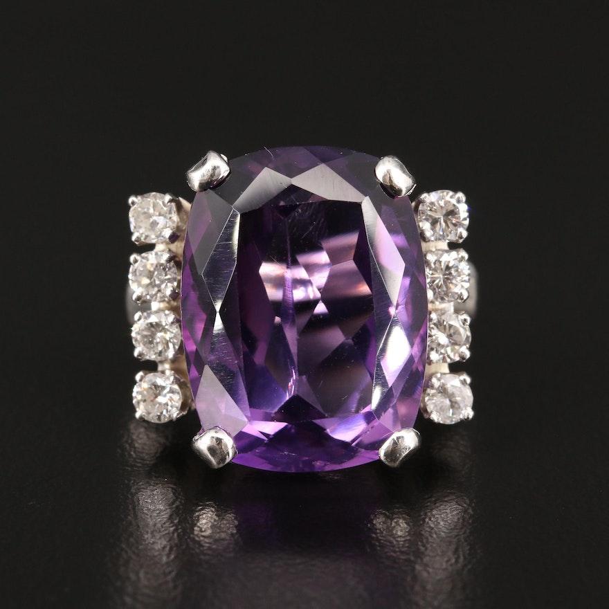 14K 15.12 CT Amethyst and Diamond Ring
