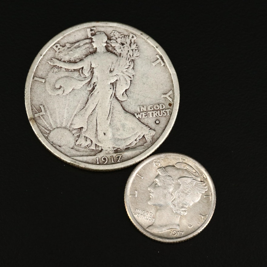 1917-D Walking Liberty Silver Half Dollar and 1917 Mercury Silver Dime