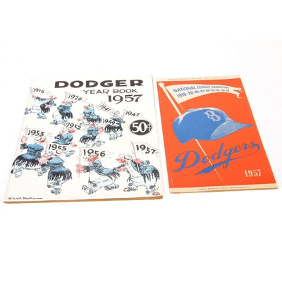 "1957 ""Dodger's Yearbook"" and ""National League Champions"" Pamphlets"
