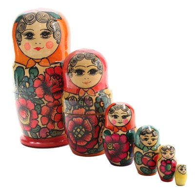 Russian Hand-Painted Matryoshka Nesting Doll