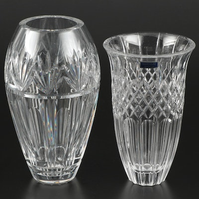"Waterford ""Bantry"" and Marquis by Waterford ""Shelton"" Crystal Flower Vases"