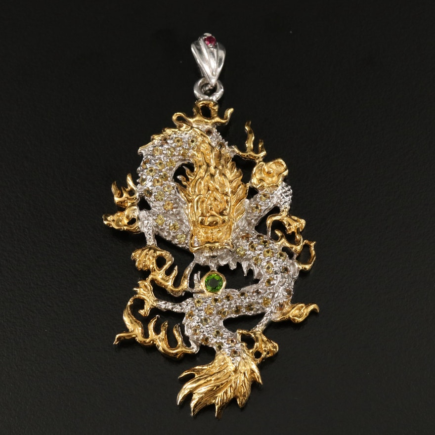 Sterling Dragon Pendant with Diopside, Sapphire and Garnet