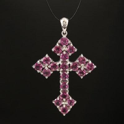 Sterling Silver Rhodolite Garnet Cross Pendant
