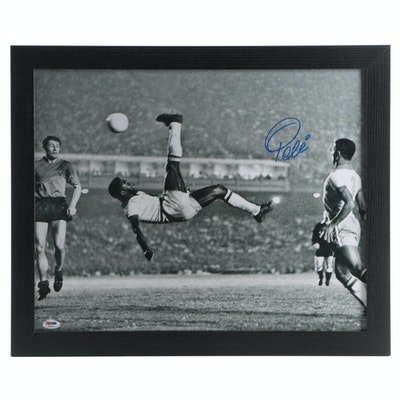 "Pelé Signed ""Famous Bicycle Kick"" Enlarged Framed Photo Print, PSA/DNA COA"