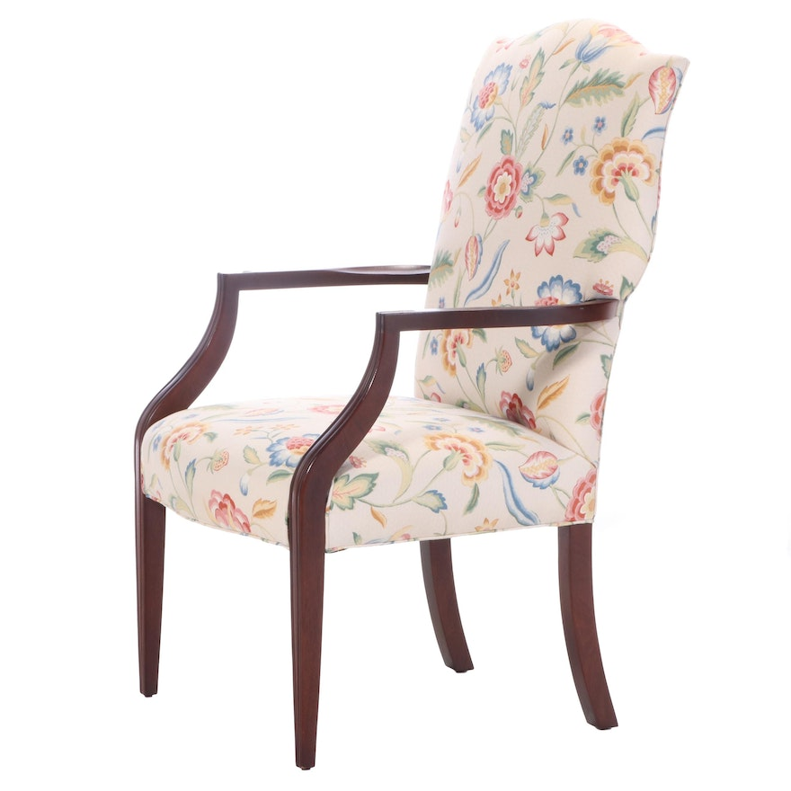Baker Furniture Federal Style Floral-Upholstered Mahogany Lolling Chair