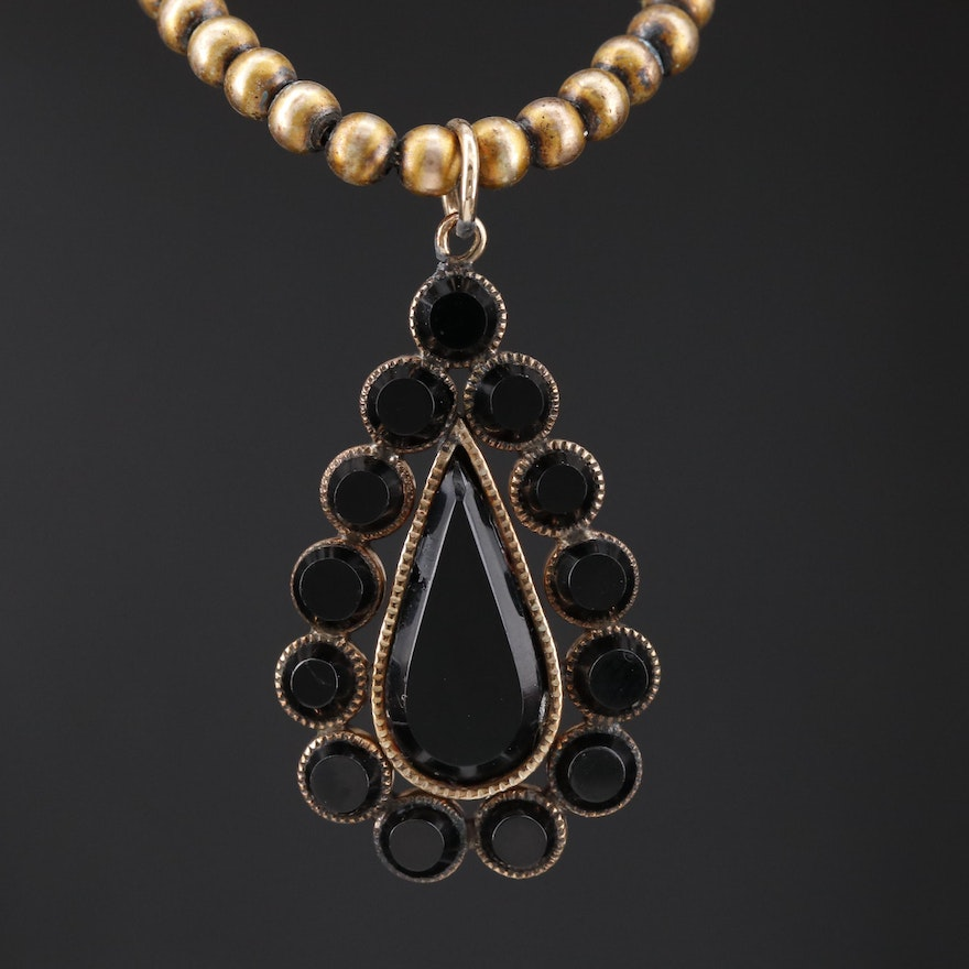 Victorian French Jet Mourning Pendant on Bead Chain Necklace