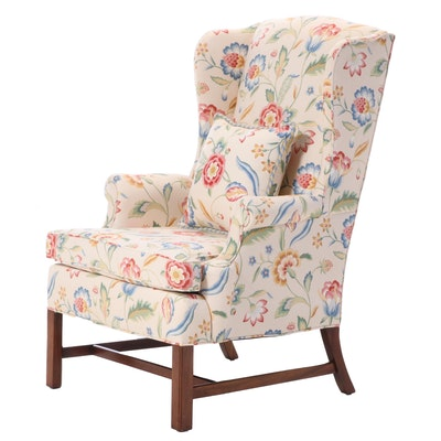 Hickory Chair Chippendale Style Floral-Upholstered Mahogany Wingback Armchair