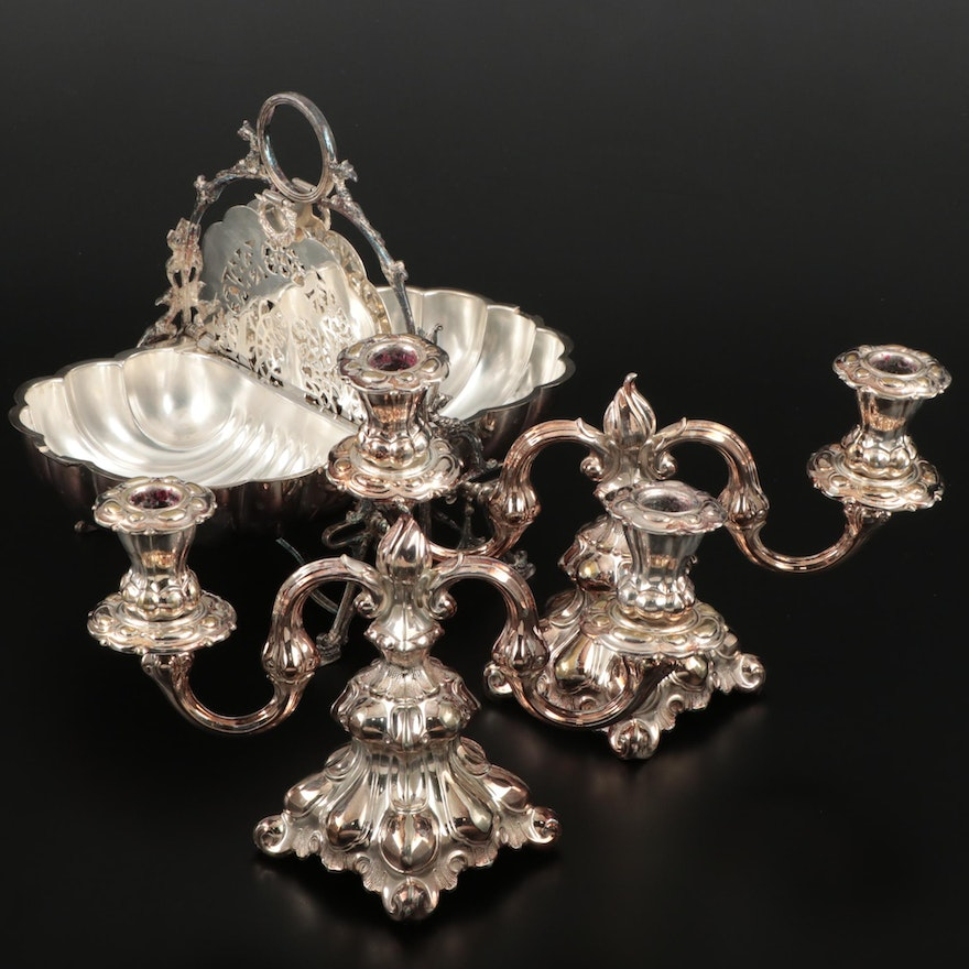 English Silver Plate Folding Bun Warmer and Pair of Two Arm Candle Holders