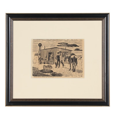 """Harold E. West Woodblock Print """"Asking for a drink at Lunch Time"""", 20th Century"""