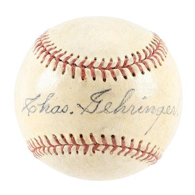 Chas. Gehringer Detroit Tigers Hall of Fame Legend Signed Baseball, JSA COA