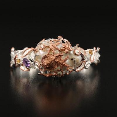 Sterling Silver Baroque Pearl, Amethyst and Garnet Ocean Life Cuff