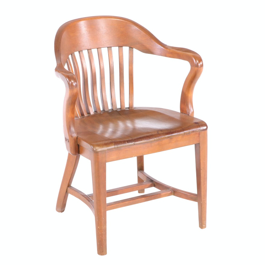 Wood Banker's Armchair, Early to Mid 20th Century