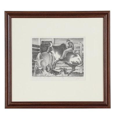 "Ethel Magafan Lithograph ""Riding the Brahmas"", 1938"