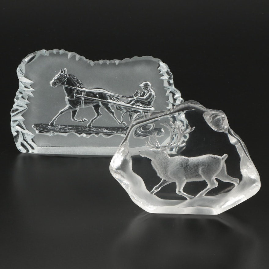 Mats Jonasson and Nybro Swedish Crystal Animal Paperweights