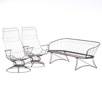 Homecrest Style Mid Century Modern Wire Frame Rocker Chairs and Sofa