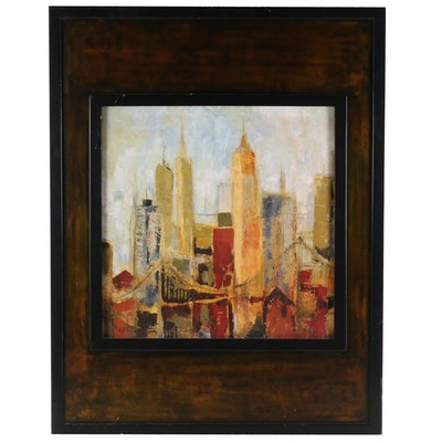 Uttermost Offset Lithograph on Textured Board of City Scene
