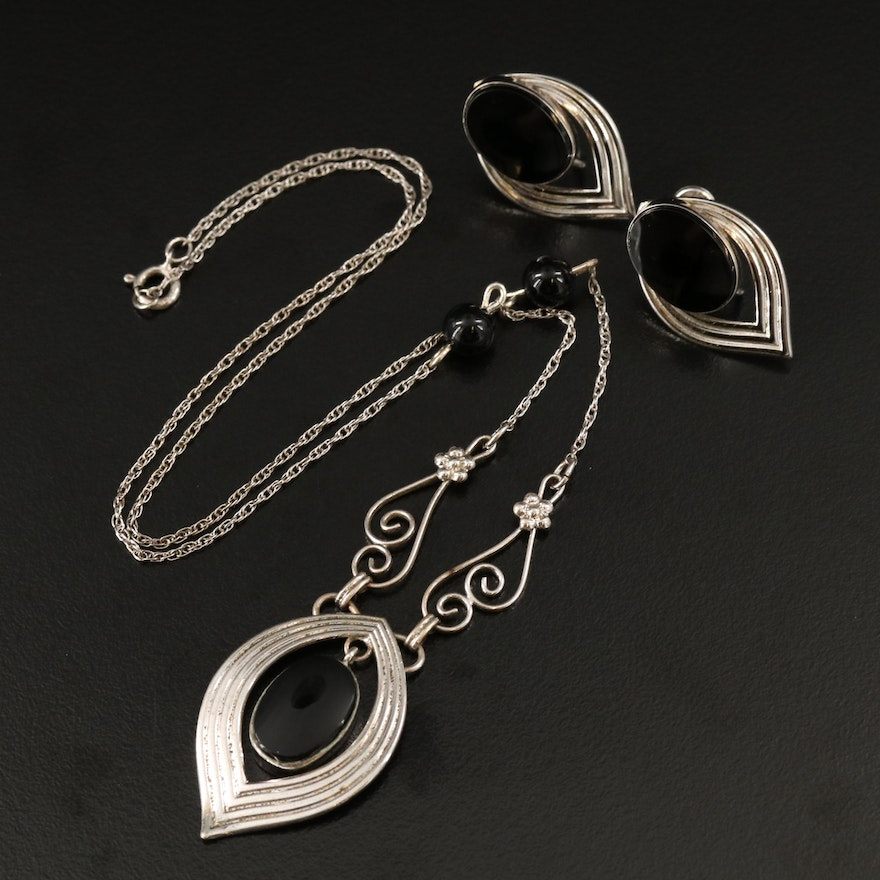 Vintage Van Dell Sterling Silver Black Onyx Necklace and Earring Set