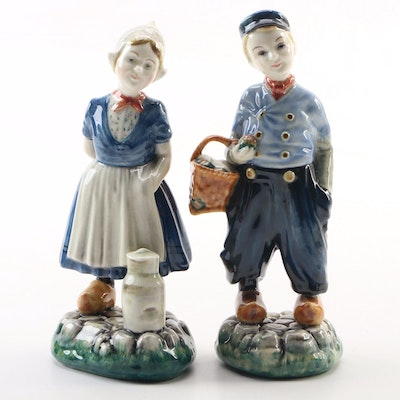 "Gort Hand-Painted Porcelain ""Greta"" and ""Piet"" Figurines, Mid-20th Century"