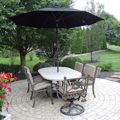 Landgrave Cast Classics Patio Dining Set with Cushions and Sunbrella Umbrella
