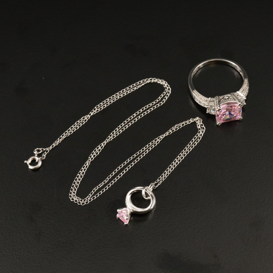 Sterling Silver Cubic Zirconia Ring and Necklace