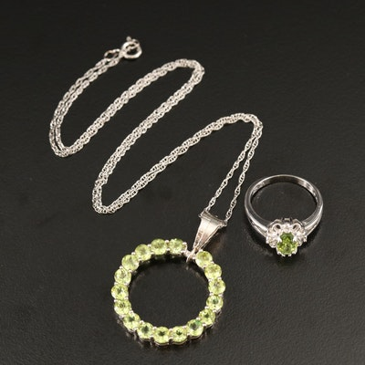Sterling Silver Peridot and Cubic Zirconia Ring and Necklace