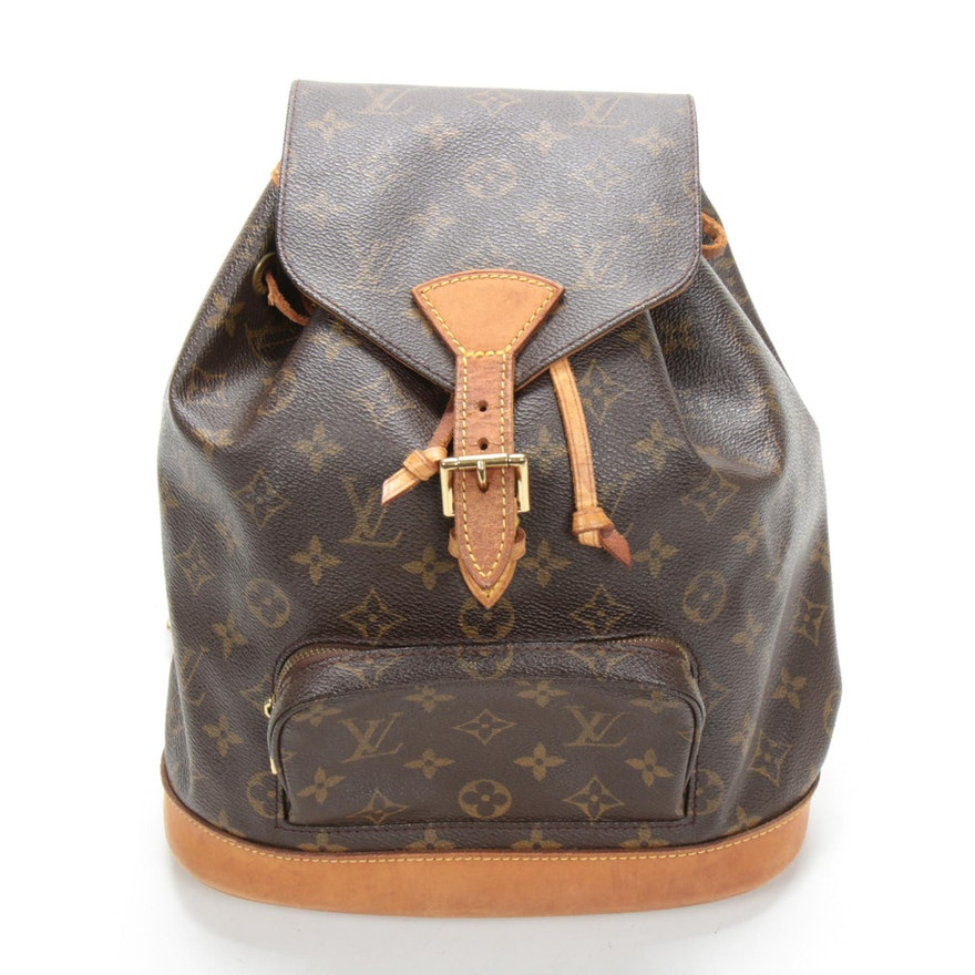 Louis Vuitton Montsouris MM Backpack in Monogram Canvas and Vachetta Leather