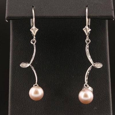 14K Pearl and Diamond Dangle Earrings