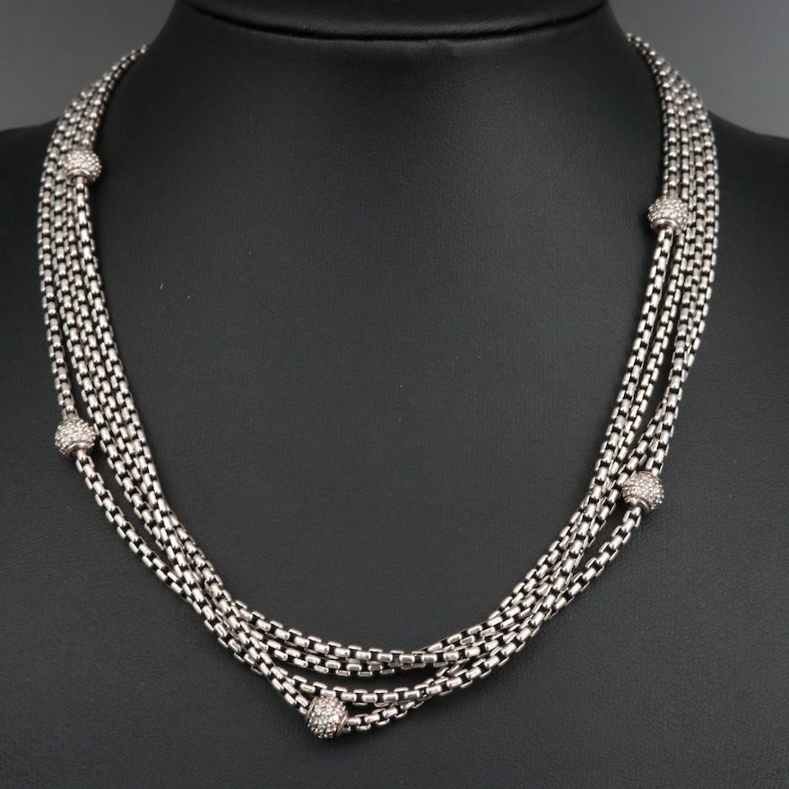 David Yurman Sterling 1.66 CTW Diamond Multi-Strand Necklace with 18K Accents