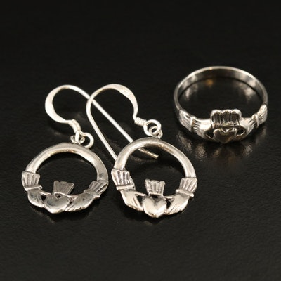 Sterling Claddagh Ring and Dangle Earrings Set