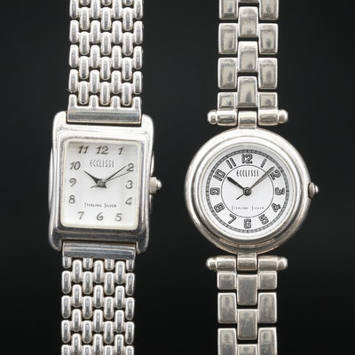 Pair of Ecclissi Sterling Silver and Stainless Steel Quartz Wristwatches