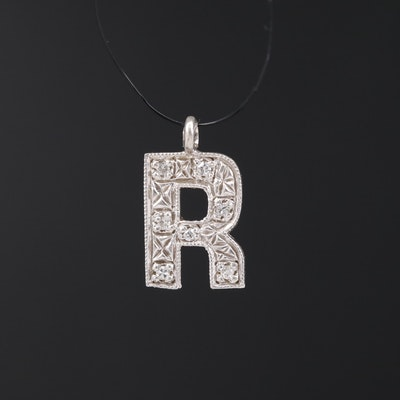 "14K Diamond ""R"" Pendant"