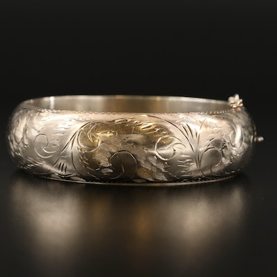 Vintage Sterling Engraved Hinged Bangle