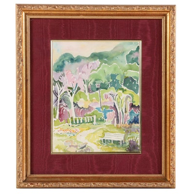 "Homer Echard Watercolor Painting ""Springtime in the Park"""