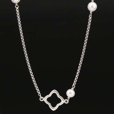 "David Yurman ""Bijoux"" Sterling Pearl Station Necklace"
