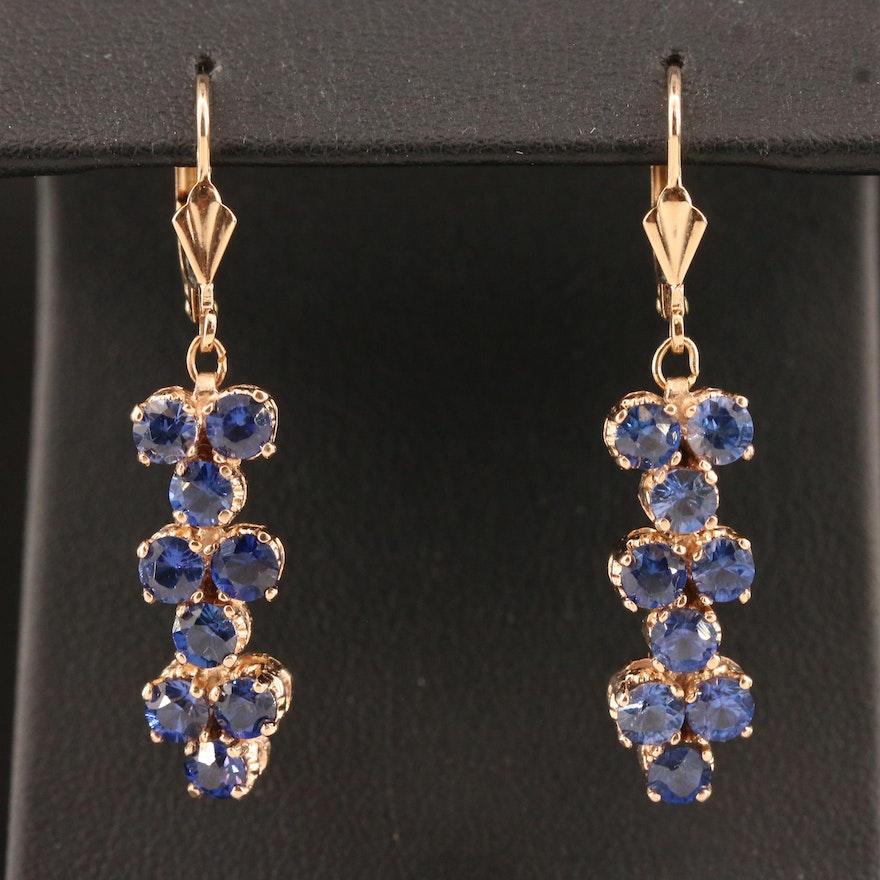 14K Blue Sapphire Dangle Earrings